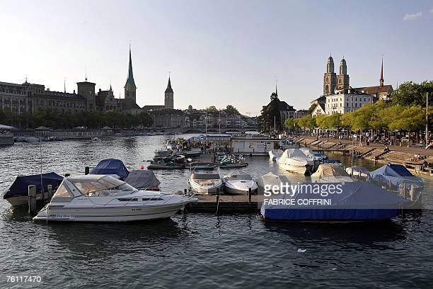 A general view shows 14 August 2007 the old town of Zurich with the Grossmuenster church and the Limmat river Zurich is the largest city in...