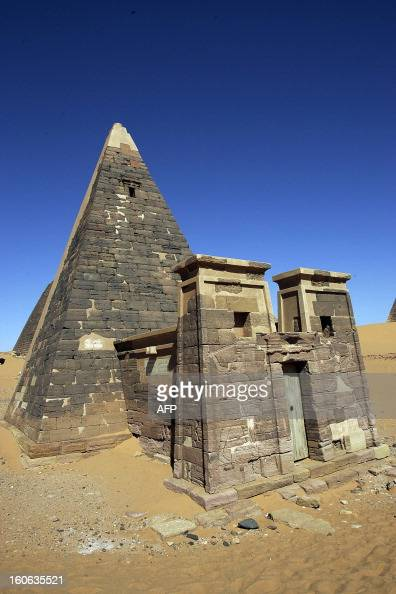 A general view shows 27 January 2006 the Meroe archaeological site 300 kms north of the Sudanese capital Khartoum The Meroe pyramids form one of the...