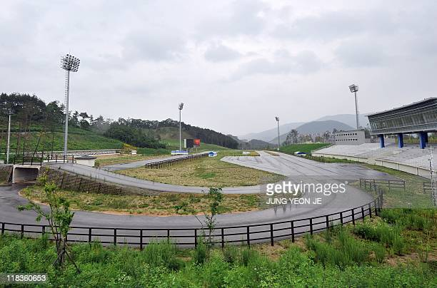 A general view shows a biathlon arena in South Korea's mountain resort of Pyeonchang 180 kms east of Seoul on July 7 2011 after the mountain resort...