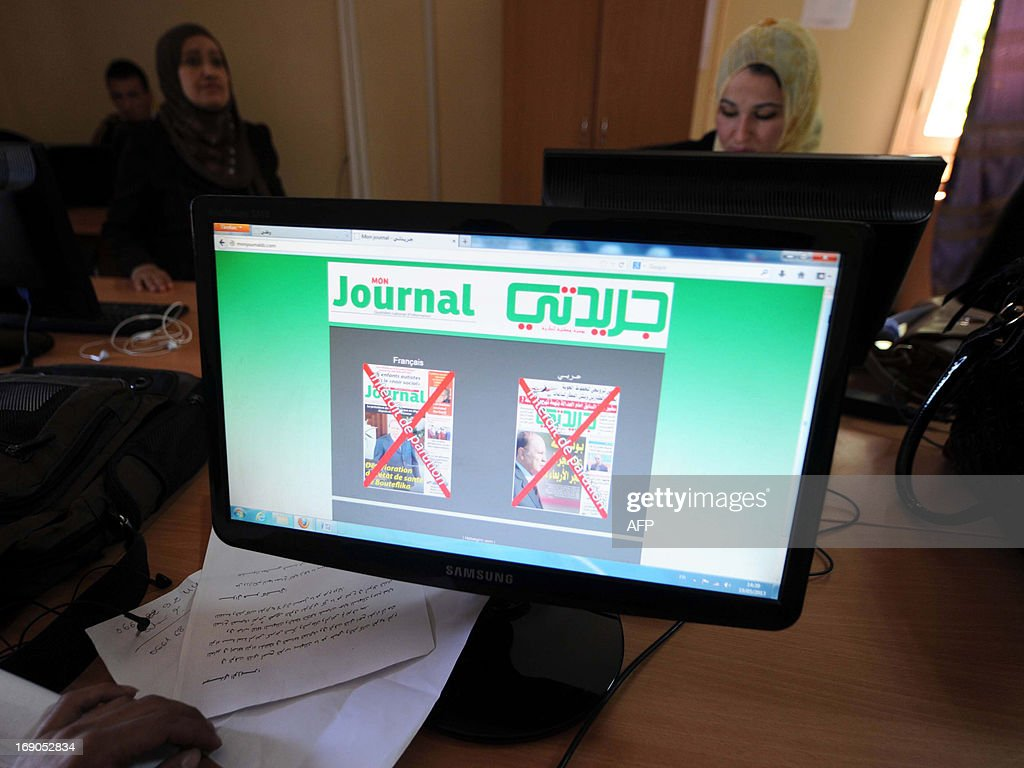 A general view shows a computer screen displaying the front covers of two newspapers that were censored for reporting that Algerian President Abdelaziz Bouteflika has fallen into a coma three weeks after being hospitalised in Paris, raising speculation about his well-being, at the newspapers' office in Algiers on May 19, 2013. Hichem Aboud, who heads the opposition French-language Mon Journal and the Arabic Djaridati, said authorities demanded that two pages devoted to Bouteflika's health be removed from the Sunday edition, adding that he refuses 'self-censorship.' AFP PHOTO / FAROUK BATICHE