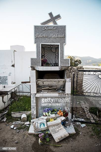 A general view shows a damaged cemetery after an earthquake in Illapel some 200 km north of Santiago on September 17 2015 A powerful 83magnitude...