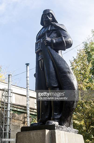 A general view shows a Darth Vader monument formerly a statue of Soviet founder Lenin following its inauguration ceremony in the southern Ukrainian...