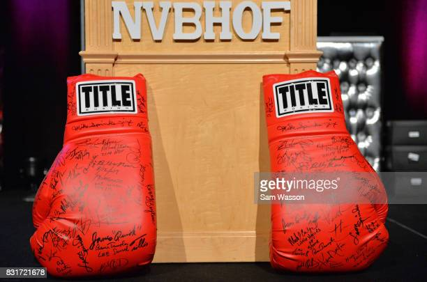 A general view shows a large pair of autographed boxing gloves at the fifth annual Nevada Boxing Hall of Fame induction gala at Caesars Palace on...