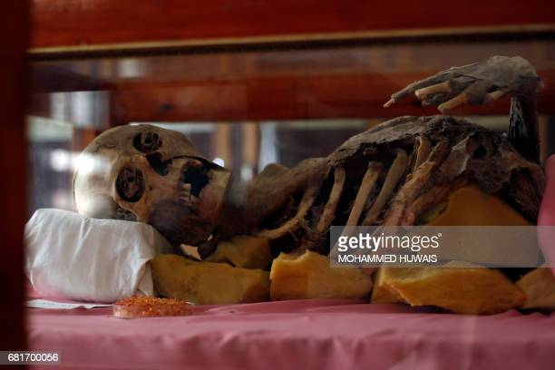 A general view shows a milleniaold mummy displayed in a glass cabinet at Sanaa University in the Yemeni capital on May 10 2017 Yemen's war has...