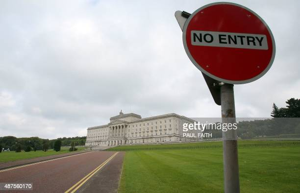 A general view shows a no entry sign on the access road to the Stormont Parliament Buildings the seat of the Northern Ireland Assembly in Belfast...