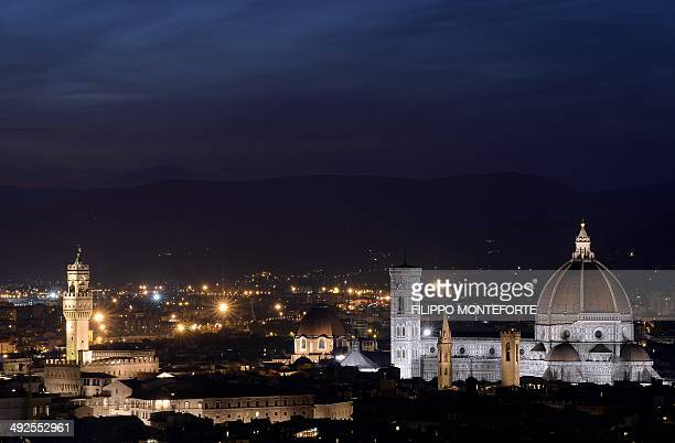 A general view shows a panorama of the city of Florence with the Duomo of the cathedral Santa Maria del Fiore and the tower of the Palazzo Vecchio...