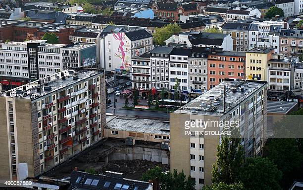 A general view shows a part of Hamburg's city and the 'Reeperbahn' the red light district in Hamburg northern Germany on May 12 2014 AFP PHOTO /...