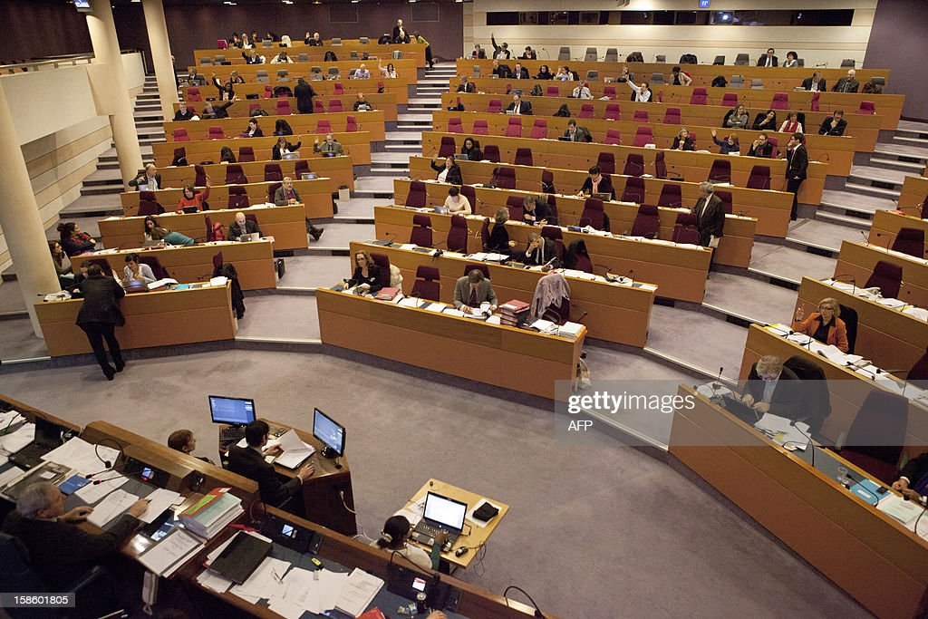 A general view shows a plenary session of the Regional Council on December 20, 2012 in Paris.