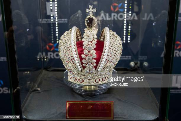A general view shows a replica of Russian Queen Catherine the Great's imperial crown which was used in the coronations of all Russian monarchs since...