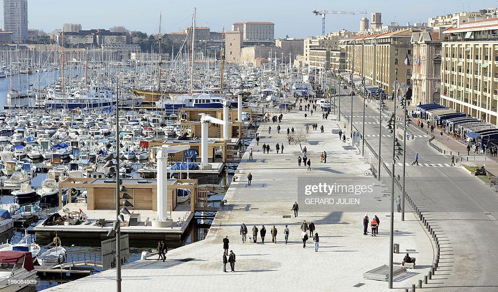 A general view shows a semi-pedestrian area, designed by British architect Norman Foster, in the Vieux-Port district (old harbor) in Marseille, southern France, on January 7, 2013, as part of urban renewal for 'Marseille-Provence European Capital of Culture' in 2013. AFP PHOTO/GERARD JULIEN