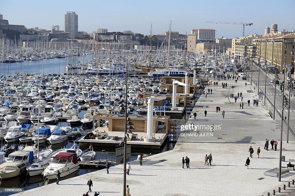 A general view shows a semi-pedestrian area, designed by British architect Norman Foster, in the Vieux-Port district (old harbor) in Marseille, southern France, on January 7, 2013, as part of urban renewal for 'Marseille-Provence European Capital of Culture' in 2013 which will be launch next week. AFP PHOTO/GERARD JULIEN