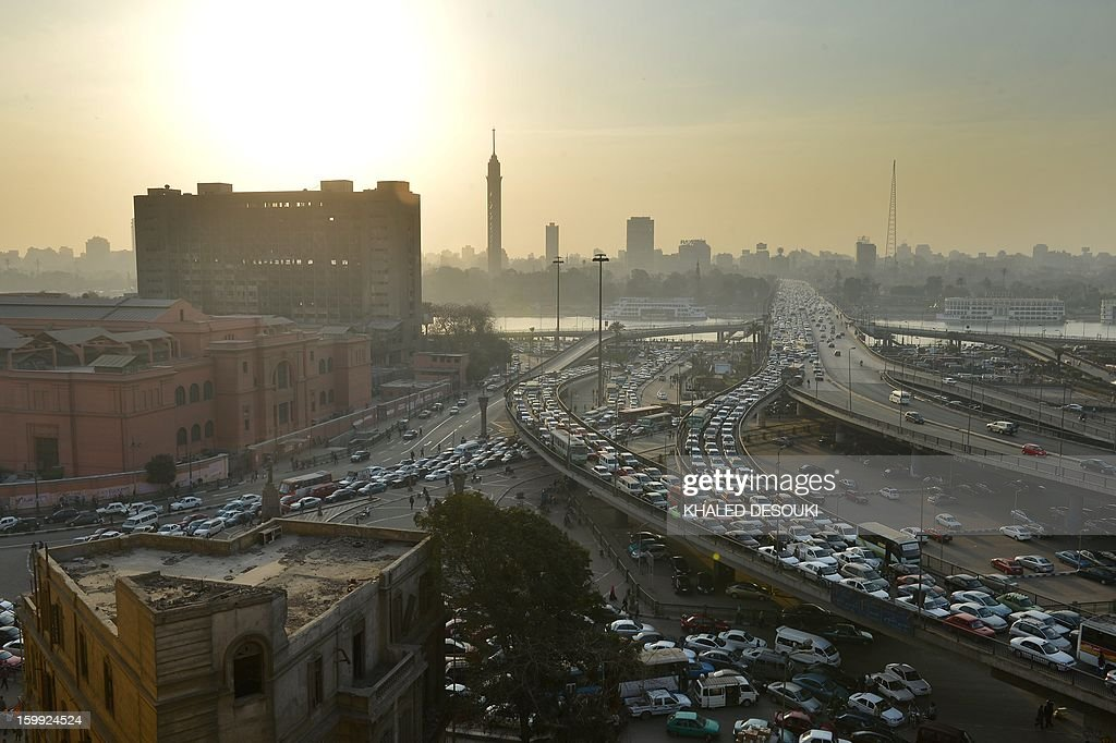 A general view shows a traffic jam on Cairo's six October bridge on January 23, 2013.