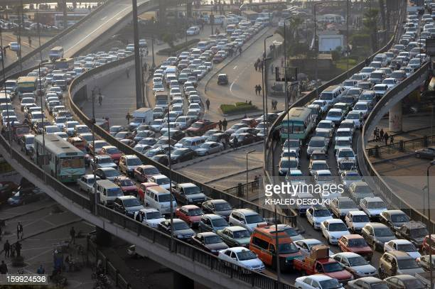 A general view shows a traffic jam on Cairo's six October bridge on January 23 2013 AFP PHOTO/KHALED DESOUKI