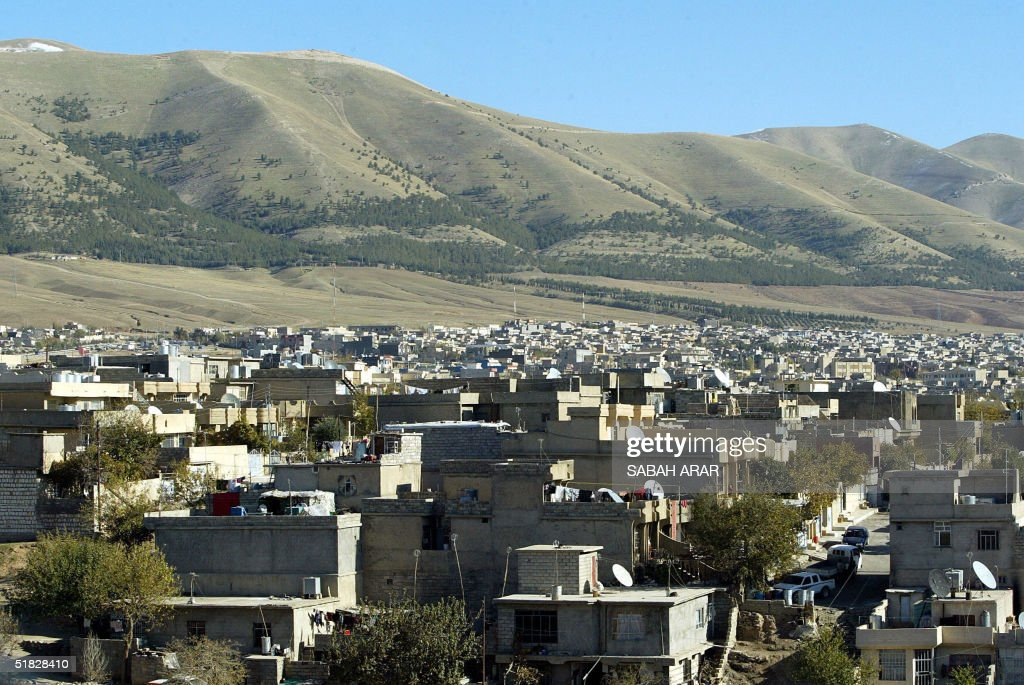 A general view shows a village near the Iraqi Kurdistan city of Sulaimaniyah 350 kms northeast of Baghdad 05 December 2004 The Kurdistan Democratic...