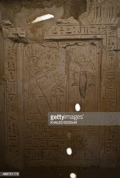A general view shows a wall inside one of the two 3000 year old tombs of senior pharaonic generals that were discovered in the famed Saqqara...