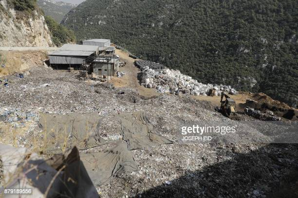 A general view shows a waste treatment plant in the area of Monteverde east of Beirut on October 27 2017 The Lebanese divers plunge below the surface...