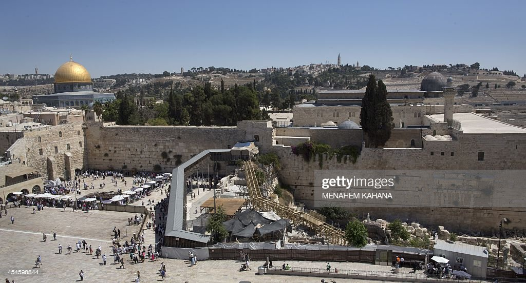 A general view shows a wooden ramp connecting Jerusalem's Western Wall plaza to the alMughrabi Gate in the alAqsa mosque compound in the old city of...