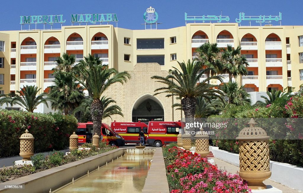 A general view shows ambulances parked in front of the Imperial Marhaba Hotel in the resort town of Sousse a popular tourist destination 140...