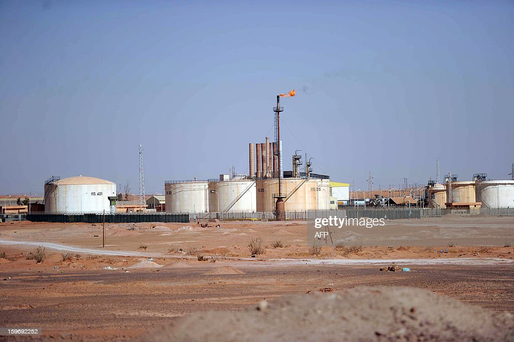 A general view shows an oil installation on the outskirts of In Amenas, deep in the Sahara near the Libyan border, on January 18, 2013. Islamist hostage-takers at a nearby gas field in the area, more than 1,300 kms southeast of the capital Algiers, demanded a prisoner swap and an end to the French military campaign in Mali, a report said, while 30 foreigners were reported still missing in the worst international hostage drama for years.
