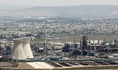 A general view shows an oil refinery in Israel's third city of Haifa on April 20 after the city's Mayor Yona Yahav ordered municipal rubbish trucks...