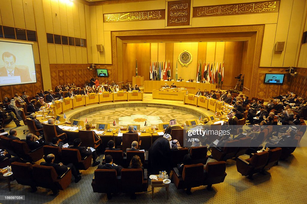 A general view shows Arab foreign ministers meeting in the Arab League headquarters in Cairo on January 13, 2013, under the request of Lebanon, which is battling to cope with a flood of refugees fleeing the civil war in Syria.