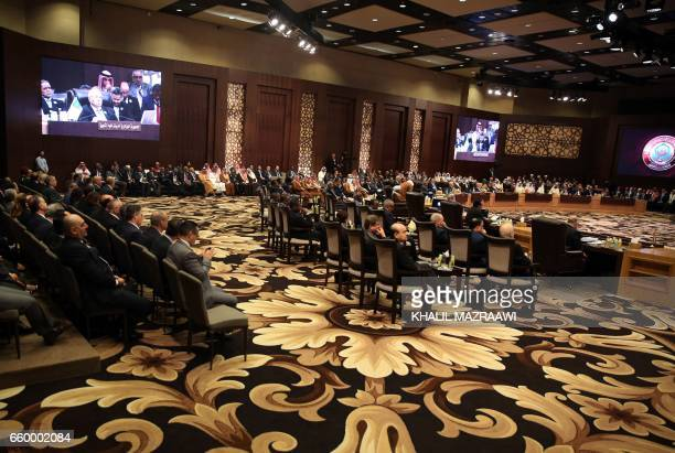 A general view shows Arab leaders attending the talks of the Arab League summit in the Jordanian Dead Sea resort of Sweimeh on March 29 2017 Arab...