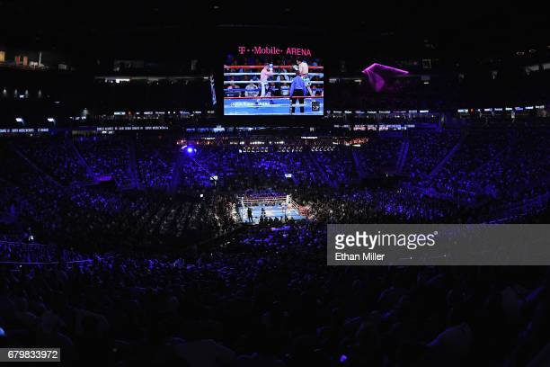 A general view shows Canelo Avarez and Julio Cesar Chavez Jr during their catchweight bout at TMobile Arena on May 6 2017 in Las Vegas Nevada Canelo...