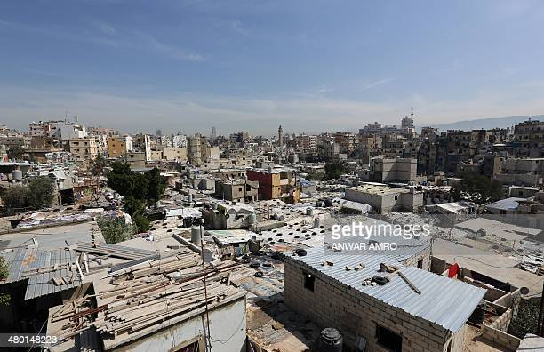 A general view shows capital's Tariq Jedideh district and Sabra Palestinian refugee camp following clashes between pro and antiDamascus factions on...