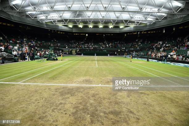 A general view shows Centre Court on the twelfth day of the 2017 Wimbledon Championships at The All England Lawn Tennis Club in Wimbledon southwest...