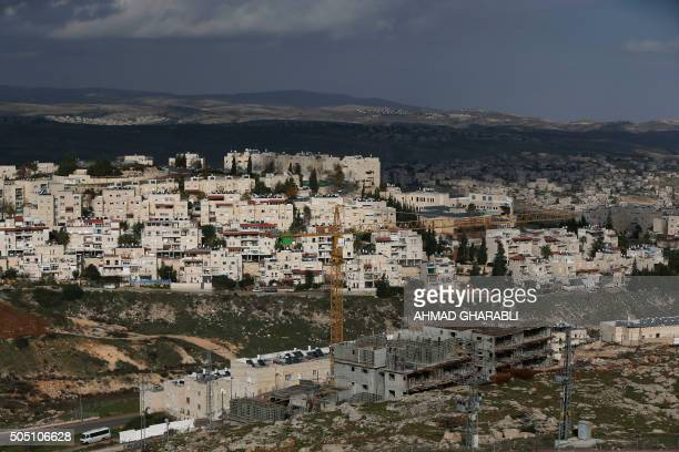 A general view shows construction in the Jewish settlement of Pisgat Zeev in east Jerusalem on January 15 2016 / AFP / AHMAD GHARABLI