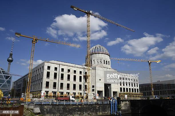 A general view shows cranes at the construction site of the ' Berliner Stadtschloss ' or Berlin City Palace a replica of the former Prussianera royal...