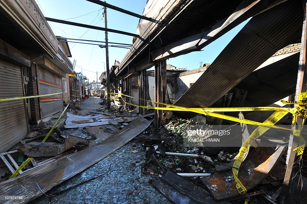 A general view shows damage caused to buildings on South Korea's Yeonpyeong Island on December 3 2010 following a North Korean artillery and rocket...
