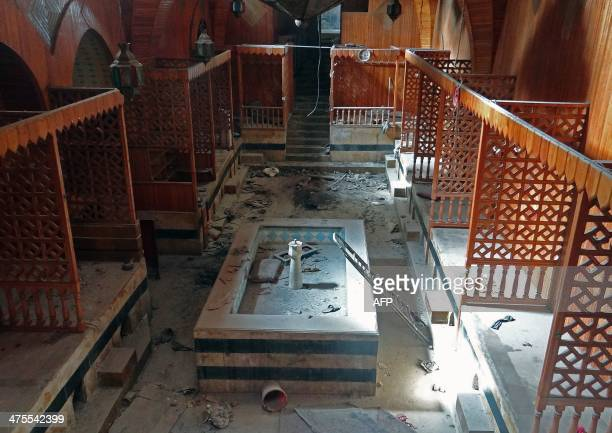 A general view shows damage in Hammam elNahasin dating back to the 13th century in the old market of Syria's northern city of Aleppo on February 22...