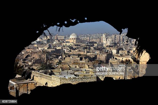 TOPSHOT A general view shows damaged buildings in old Aleppo's Jdeideh neighbourhood on December 9 2016 Syria's government has retaken at least 85...