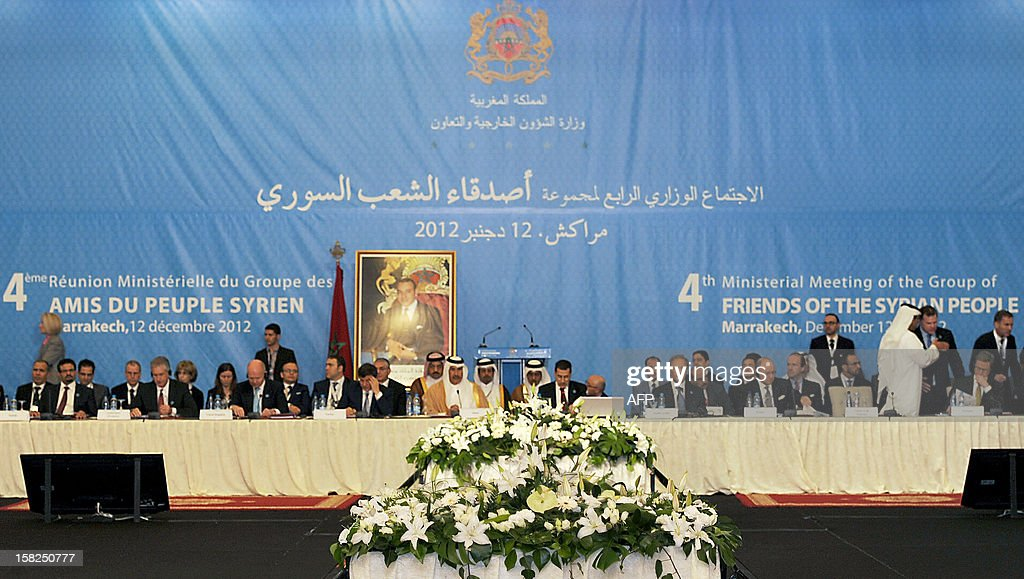 A general view shows delegates at the conference of the Friends of Syria group meeting of Arab and Western states in Marrakesh on December 12, 2012. Countries opposed to President Bashar al-Assad's regime met in Morocco for talks on Syria's 21-month conflict after the US gave official backing to a new opposition bloc.