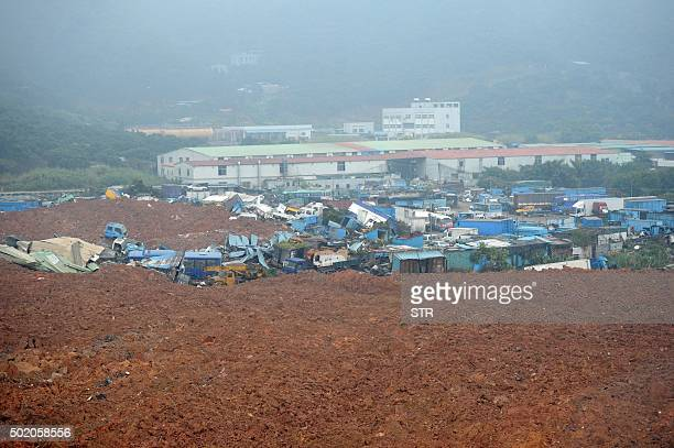 A general view shows destroyed faculties after a landslide hit an industrial park in Shenzhen south China's Guangdong province on December 20 2015 A...