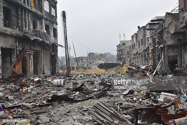 A general view shows destruction in Aleppo's old city on December 13 2016 After weeks of heavy fighting regime forces were poised to take full...