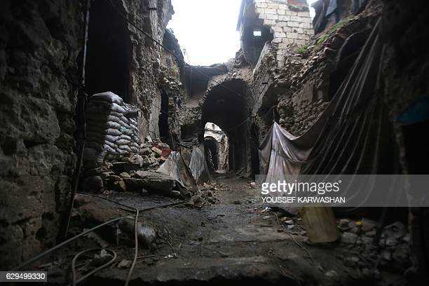 A general view shows destruction in the ancient market of the old city of Aleppo on December 13 after progovernment forces captured the area After...