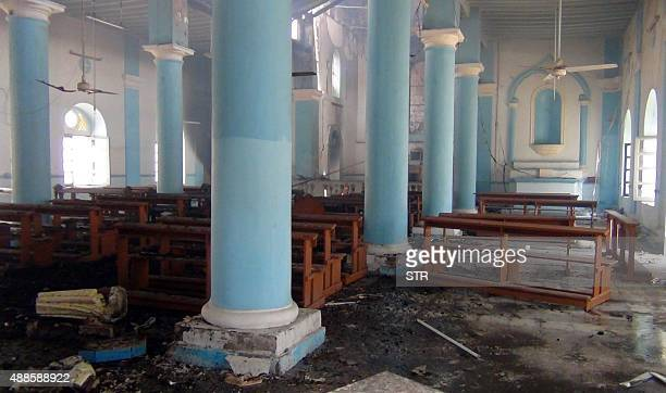 A general view shows destruction inside the Roman Catholic church of St Joseph in Yemen's second city of Aden after unidentified assailants set...