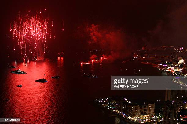 A general view shows fireworks during the festivities after the religious wedding of Prince Albert II of Monaco and Princess Charlene on July 2 2011...