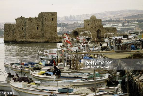 A general view shows fishing boats moored in the ancient port of Sidon on the southern coast of Lebanon 40 kms south of the capital Beirut where the...