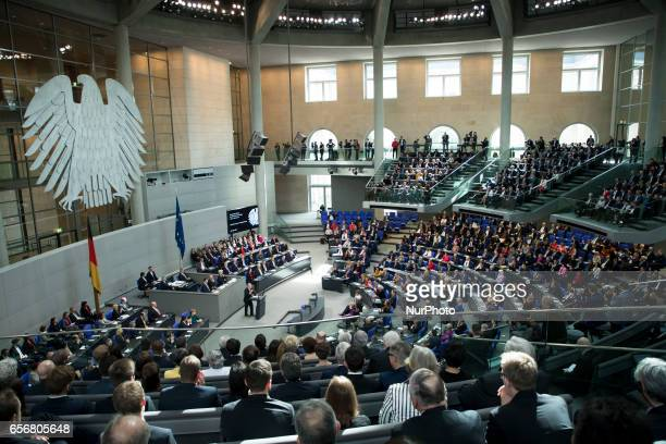 A general view shows former German President Joachim Gauck as he holds a speech before the swearingin ceremony of new German President FrankWalter...