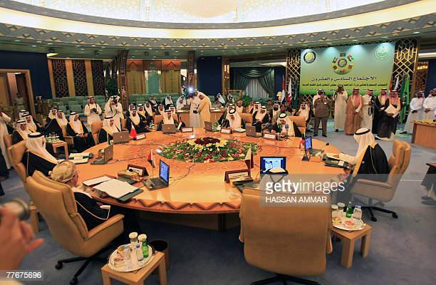 A general view shows GCC Secretary General Abdul Rahman alAttiya meeting with GCC Interior Ministers Saud bin Ibrahim alBusaidi of Oman Sheikh Rashed...