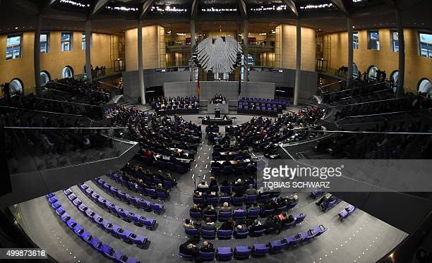 A general view shows German deputies attending a plenary session of the German lower house of parliament Bundestag before voting on a steppedup...