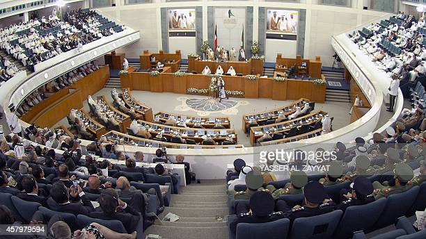 A general view shows Kuwaiti members of parliament attending the opening session of the new parliamentary term in Kuwait City on October 28 2014...