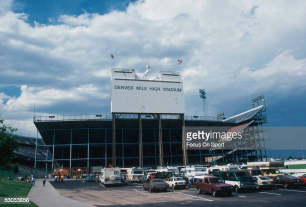 A general view shows Mile High Stadium circa 1983 in Denver Colorado