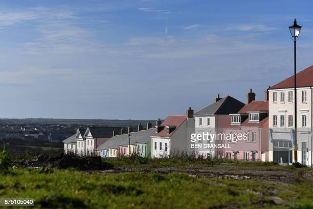 A general view shows Nansledan housing development championed by Britain's Prince Charles Prince of Wales at Newquay town in Cornwall on October 25...