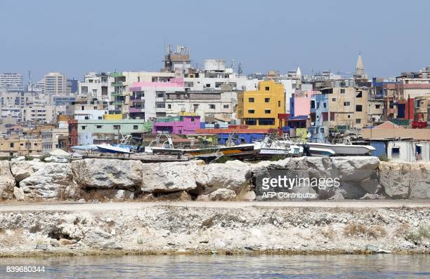 A general view shows painted houses in Beirut's southern Ouzai neighbourhood on August 19 2017 Starting 18 months ago Nasser began implementing a...