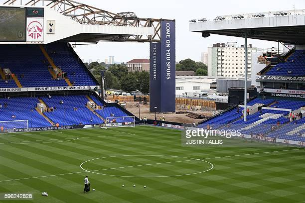 A general view shows part of the North stand of White Hart Lane which has been demolished to allow for the construction of Tottenham Hotspur's new...