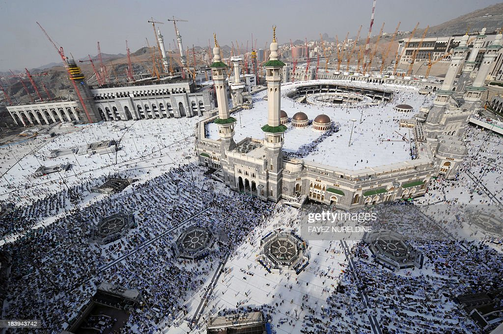 A general view shows pilgrims arriving to perform the afternoon prayer in Mecca's Grand Mosque on October 10, 2013, as more than 2 million Muslims have arrived in Saudi Arabia for the hajj pilgrimage to the shrine city, the world's largest annual human assembly which peaks on October 13, according to local state media. AFP PHOTO/FAYEZ NURELDINE